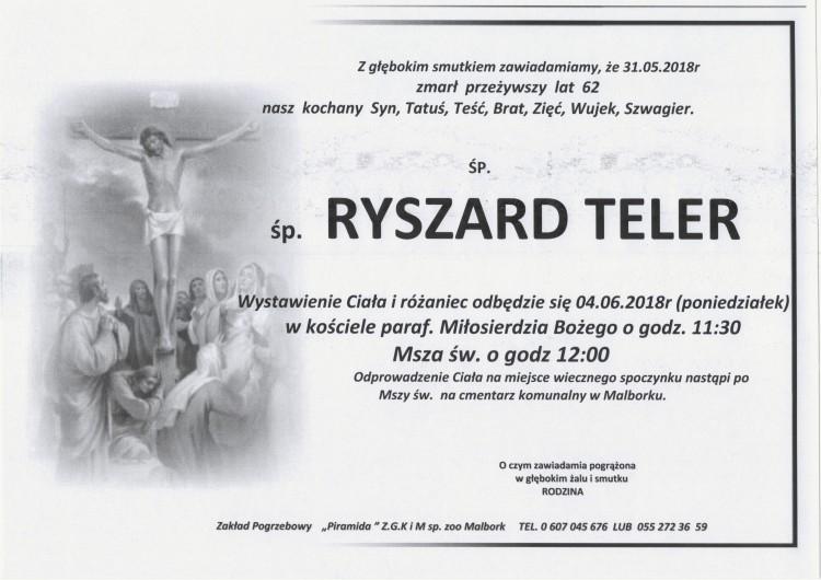 Zmarł Ryszard Teler. Żył 62 lata.