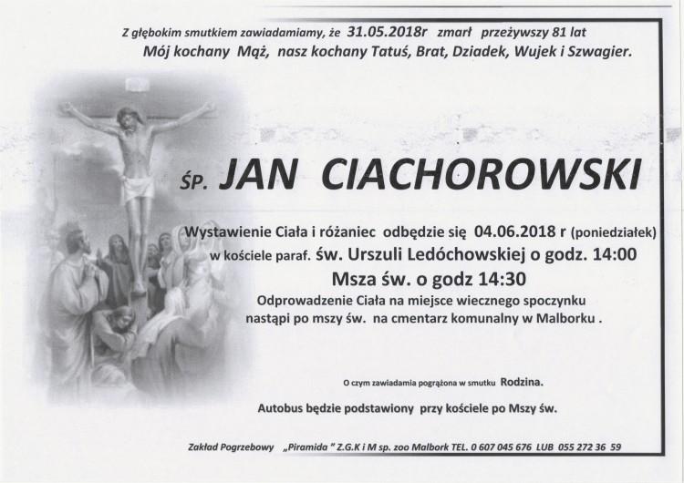 Zmarł Jan Ciachorowski. Żył 81 lat.