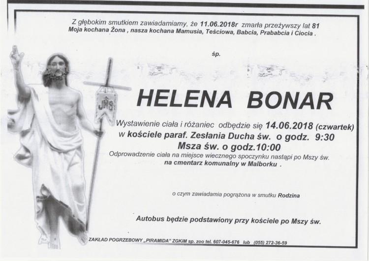 Zmarła Helena Bonar. Żyła 81 lat.