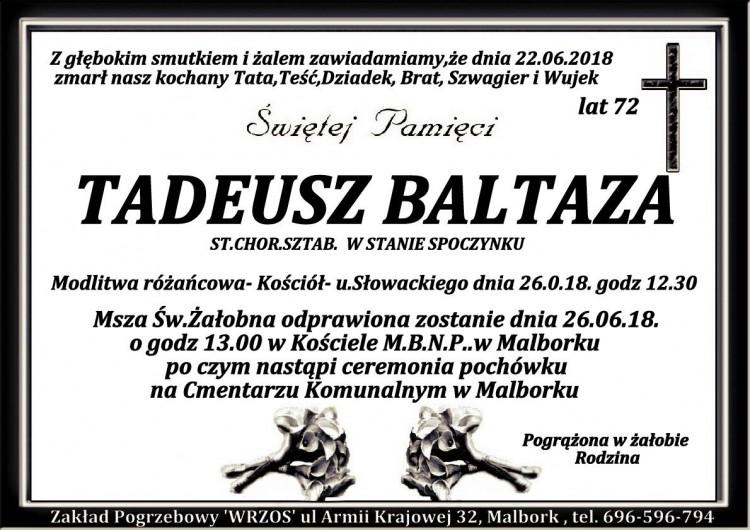 Zmarł Tadeusz Baltaza. Żył 72 lata.