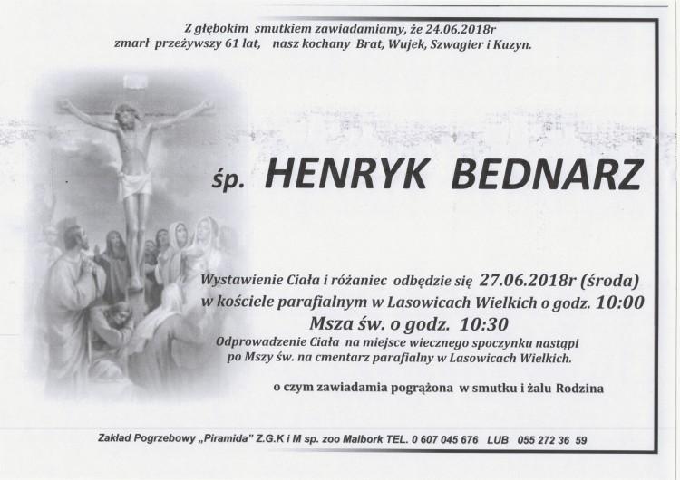 Zmarł Henryk Bednarz. Żył 61 lat.