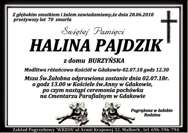 Zmarła Halina Pajdzik. Żyła 70 lat