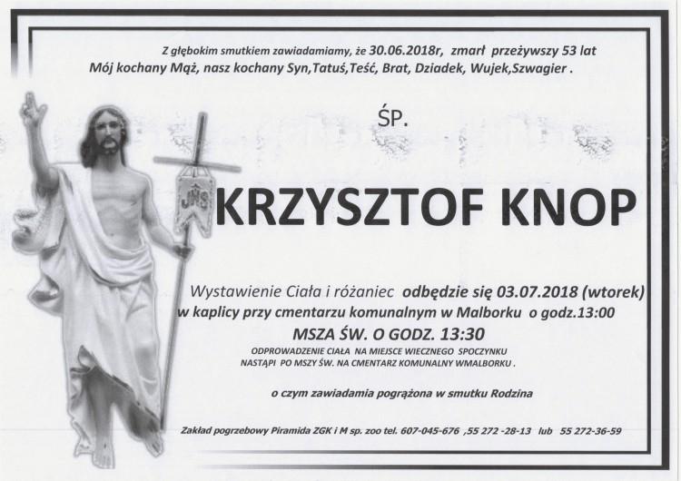 Zmarł Krzysztof Knop. Żył 53 lata.