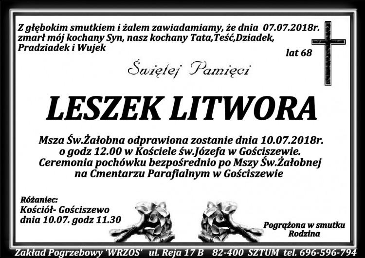 Zmarł Leszek Litwora. Żył 68 lat