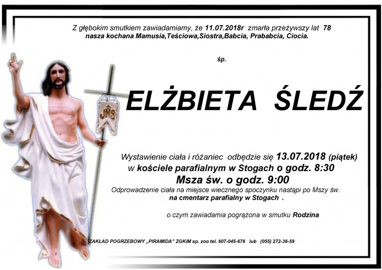 Zmarła Elżbieta Śledź. Żyła 78 lat