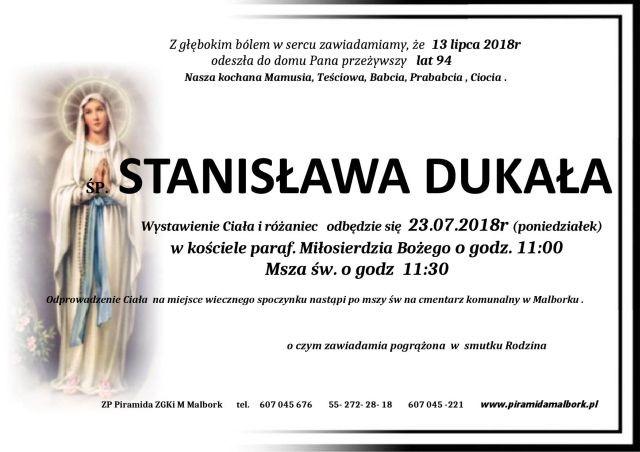 Zmarła Stanisława Dukała. Żyła 94 lata.