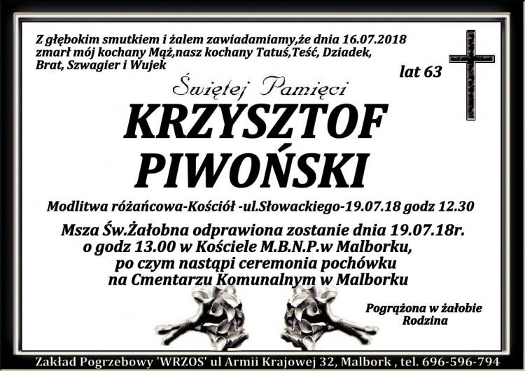Zmarł Krzysztof Piwoński. Żył 63 lata.