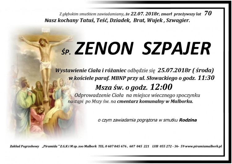 Zmarł Zenon Szpajer. Żył 70 lat.
