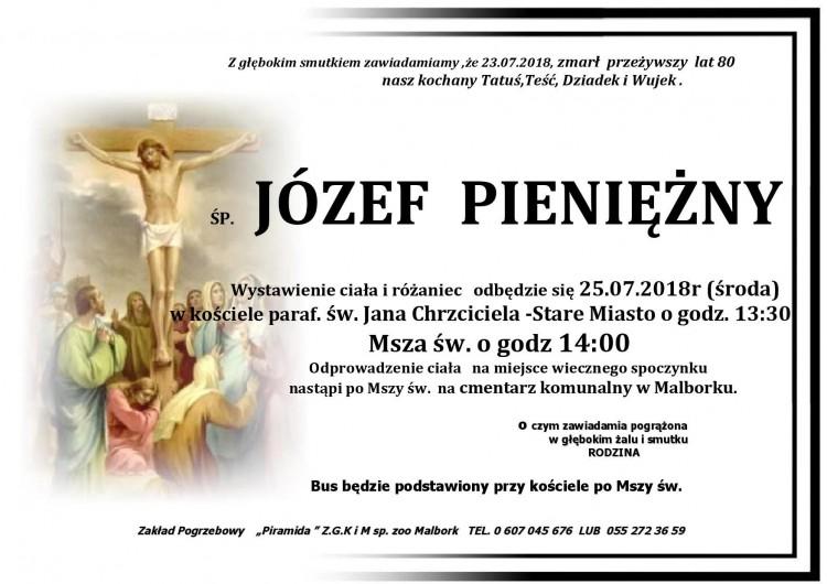 Zmarł Józef Pieniężny. Żył 80 lat.