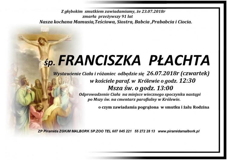 Zmarła Franciszka Płachta. Żyła 91 lat.