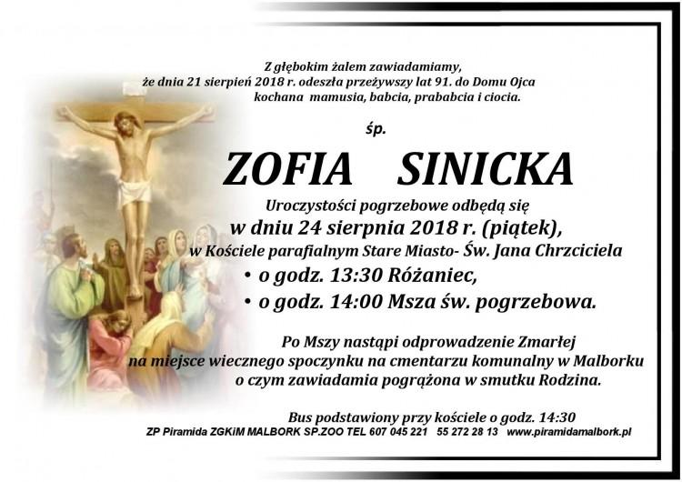 Zmarła Zofia Sinicka. Żyła 91 lat.