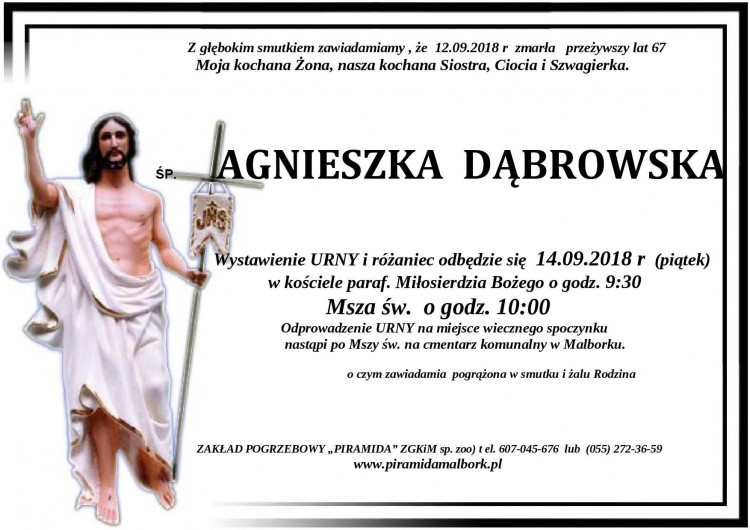 Zmarła Agnieszka Dąbrowska. Żyła 67 lat.