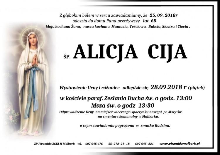 Zmarła Alicja Cija. Żyła 65 lat.