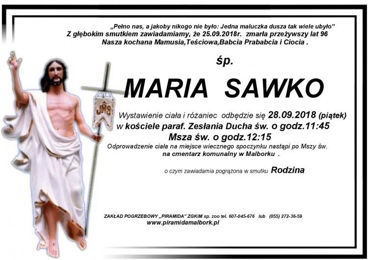 Zmarła Maria Sawko. Żyła 96 lat.