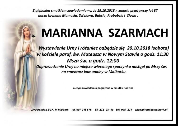 Zmarła Marianna Szarmach. Żyła 87 lat.