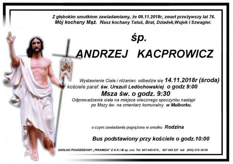 Zmarł Andrzej Kacprowicz. Żył 76 lat.