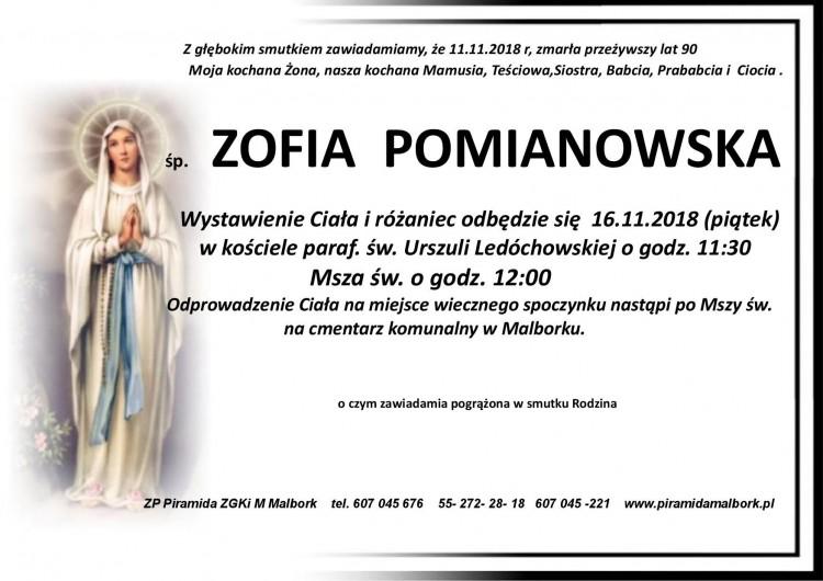 Zmarła Zofia Pomianowska. Żyła 90 lat.