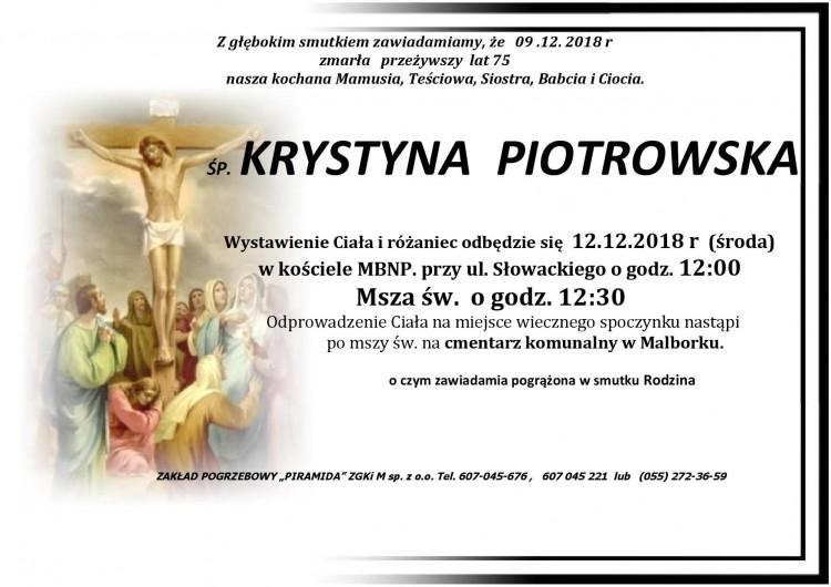 Zmarła Krystyna Piotrowska. Żyła 75 lat.