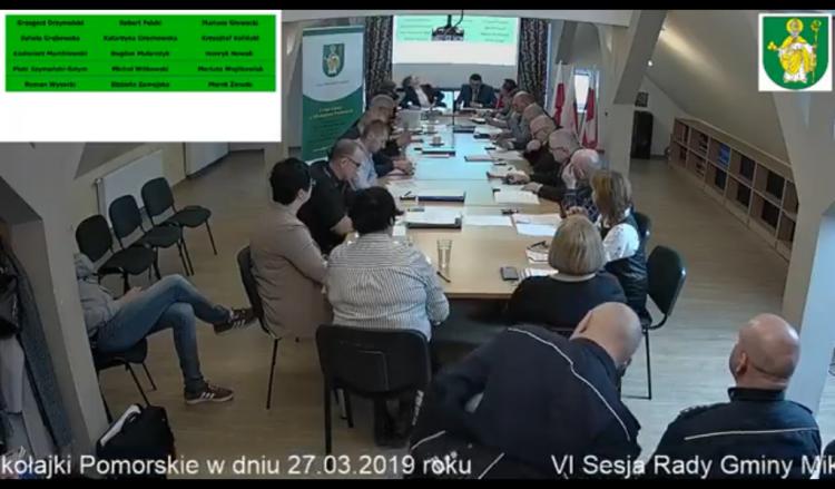 VI sesja Rady Gminy Mikołajki Pomorskie. Na żywo.