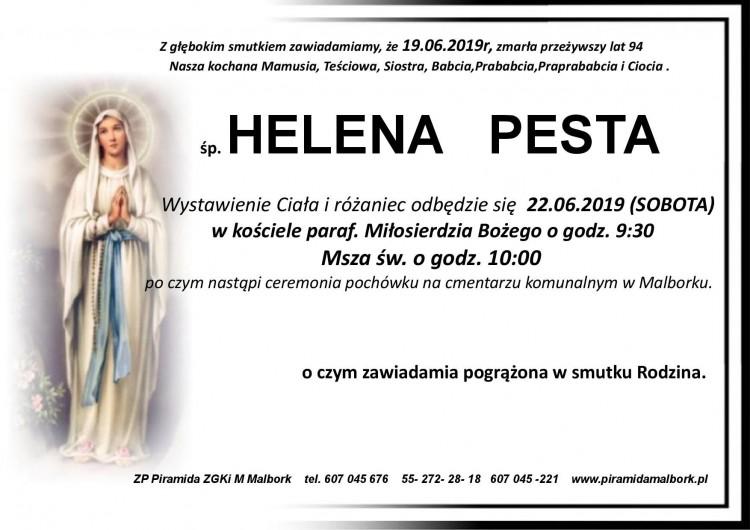 Zmarła Helena Pesta. Żyła 94 lata.