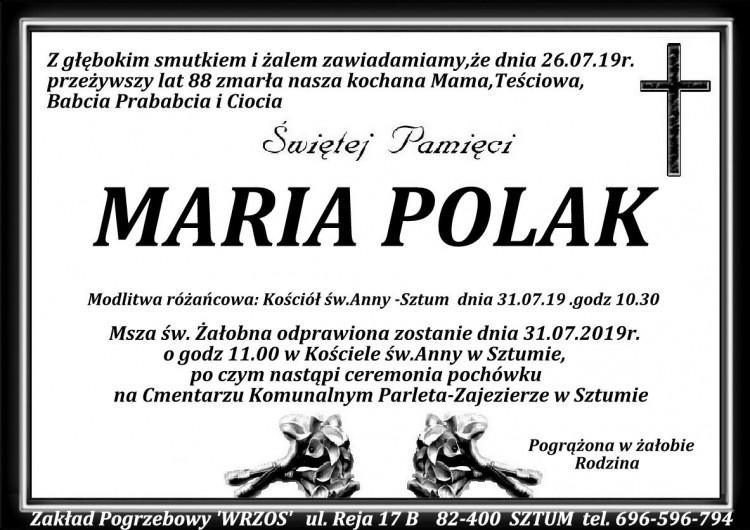 Zmarła Maria Polak. Żyła 88 lat