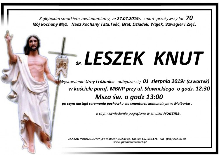 Zmarł Leszek Knut. Żył 70 lat.