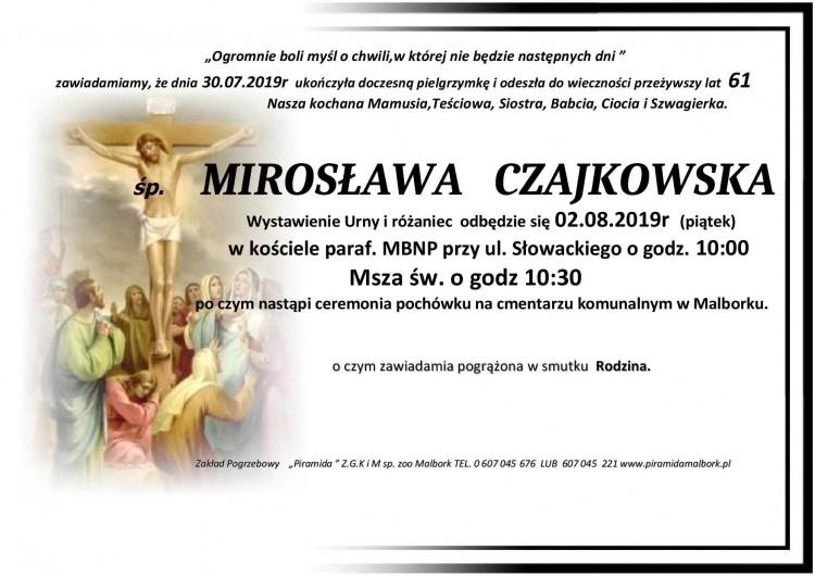 Zmarła Mirosława Czajkowska. Żyła 61 lat