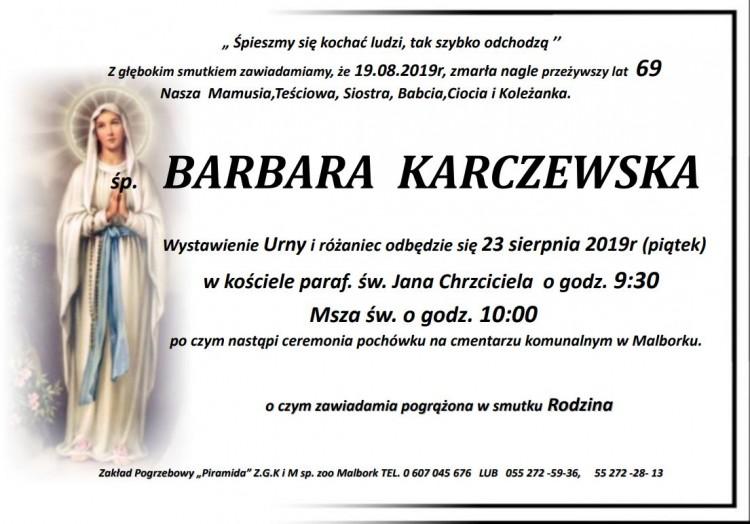 Zmarła Barbara Karczewska. Żyła 69 lat.