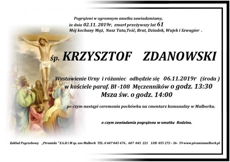 Zmarł Krzysztof Zdanowski. Żył 61 lat.