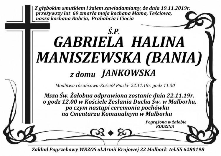 Zmarła Gabriela Halina Maniszewska. Żyła 69 lat.