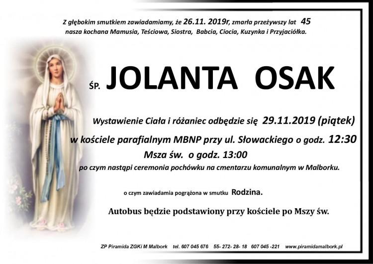 Zmarła Jolanta Osak. Żyła 45 lat.