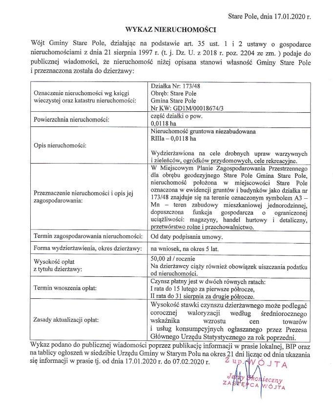 Stare Pole. Wykaz nieruchomości do dzierżawy z dnia 17.01.2019