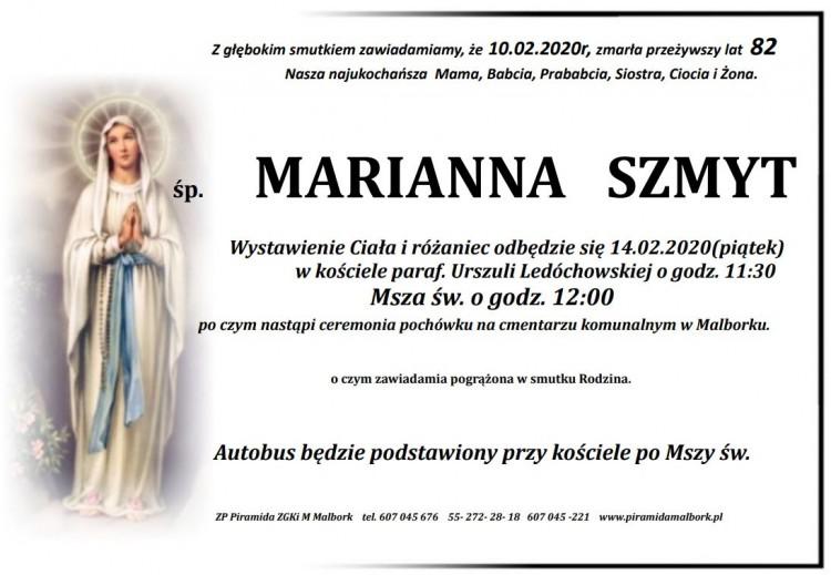 Zmarła Marianna Szmyt. Żyła 82 lata.
