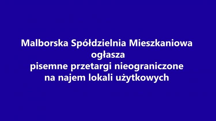 Najem lokali użytkowych w Malborku i Nowym Stawie. MSM ogłasza przetargi.