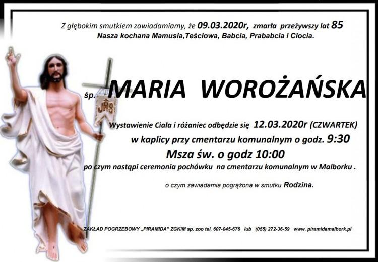 Zmarła Maria Worożańska. Żyła 85 lat.
