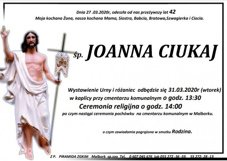 Zmarła Joanna Ciukaj. Żyła 42 lata.