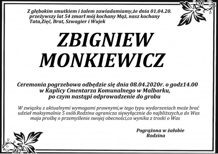 Zmarł Zbigniew Monkiewicz. Żył 54 lata.