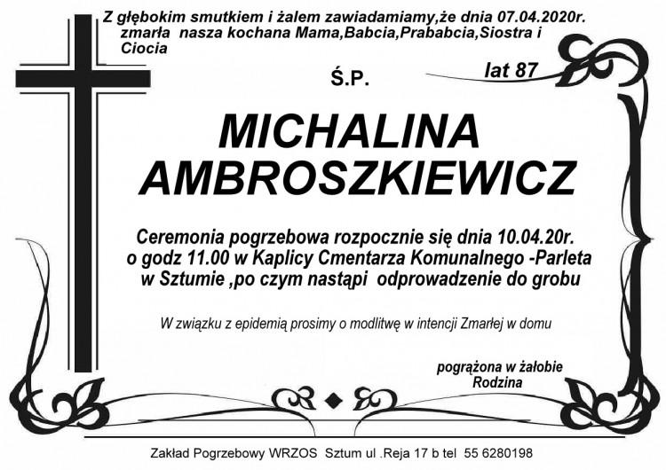 Zmarła Michalina Ambroszkiewicz. Żyła 87 lat.
