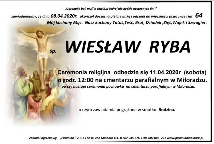 Zmarł Wiesław Ryba. Żył 64 lata.