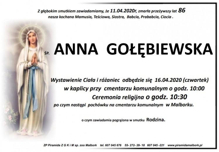 Zmarła Anna Gołębiewska. Żyła 86 lat.