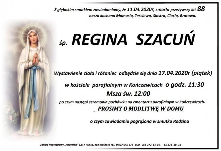 Zmarła Regina Szacuń. Żyła 88 lat.