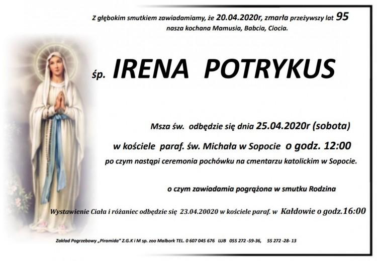 Zmarła Irena Potrykus. Żyła 95 lat.