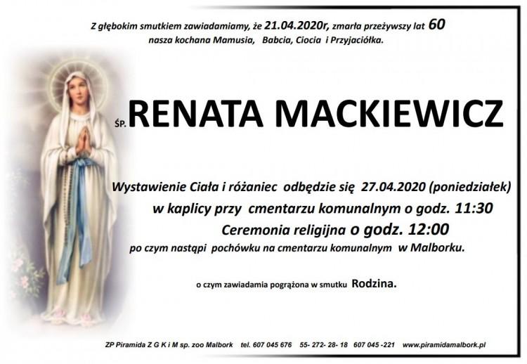 Zmarła Renata Mackiewicz. Żyła 60 lat.
