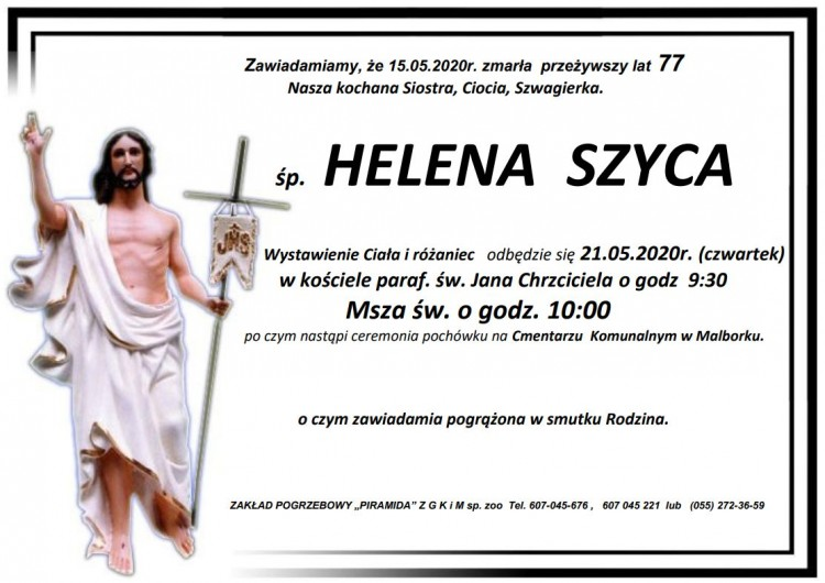 Zmarła Helena Szyca. Żyła 77 lat.