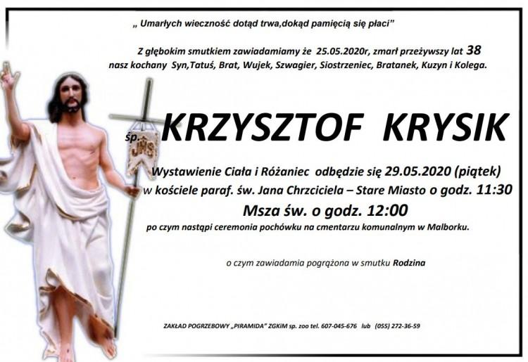 Zmarł Krzysztof Krysik. Żył 38 lat.