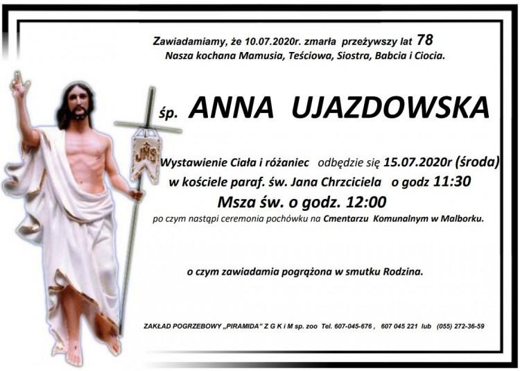 Zmarła Anna Ujazdowska. Żyła 78 lat.
