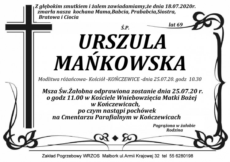 Zmarła Urszula Mańkowska. Żyła 69 lat.