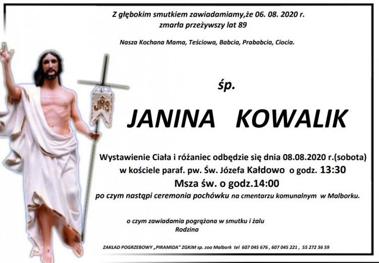 Zmarła Janina Kowalik. Żyła 89 lat.