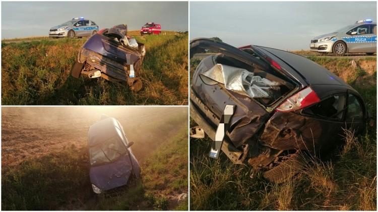 DW515. Wpadła do rowu samochodem bez badań i ważnego OC.