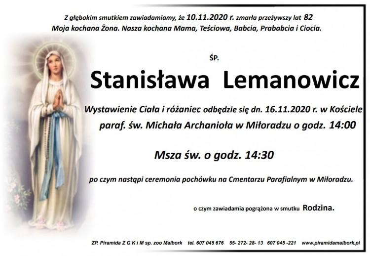 Zmarła Stanisława Lemanowicz. Żyła 82 lata.
